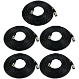 GLS Audio 25ft Mic Cable Patch Cords - XLR Male to XLR Female Black Microphone Cables - 25' Balanced...