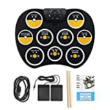 Electronic Drum Set, Portable Foldable Waterproof Silicone 9 Pads, 2 Foot Pedals Touch