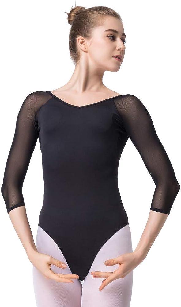 KUKOME Women's Ballet Dance Leotards 4 Sleeve Import Bombing free shipping Bodysuit 3 L