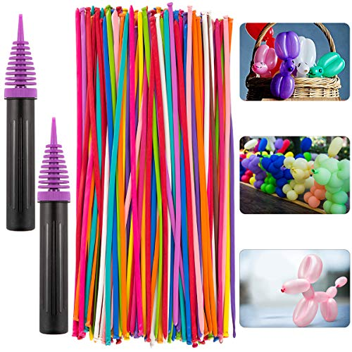 Apipi 100 Pcs Latex Twisting Balloons- 260N Long Latex Animal Modeling Balloons with 2 Pcs Pump for Animal Shape Party Birthday Clowns Wedding Decorations