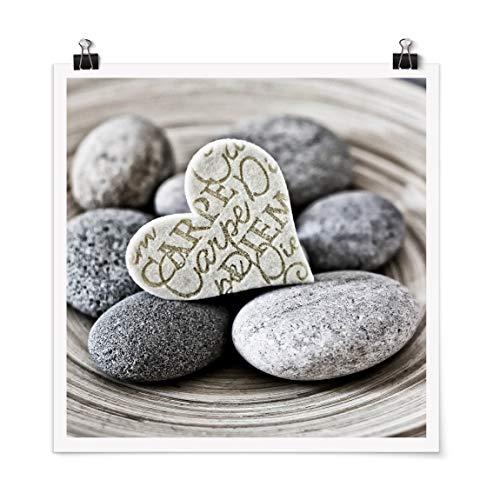 Bilderwelten Poster Carpe Diem Heart with Stones Brillante 90x90cm