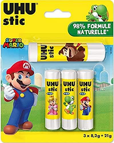 UHU Stic - Pegamento sin disolventes (4 unidades, 3 x 8,2 g, 1 x 21 g, color blanco, edición limitada, Super Mario