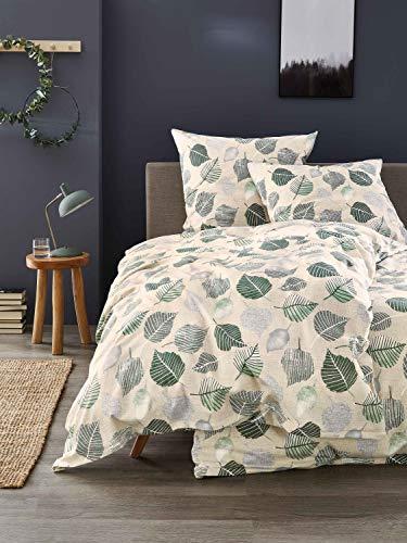IRISETTE Edel-Feinbiber Bettwäsche Feel Blätter grün 1 Bettbezug 135x200 cm + 1 Kissenbezug 80x80 cm