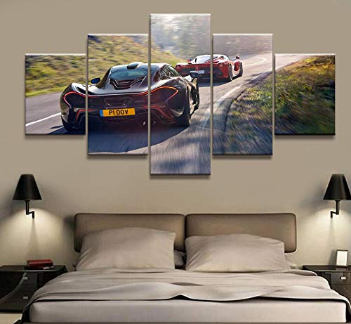 ZDFDC Stampa su Tela Auto Sportiva Poster di Grandi Dimensioni Immagini su Tela per Pittura su Tela per Ragazzi Camera Decorazioni per la casa 5 pezzi-40x60 40x80 40x100 cm Senza Cornice