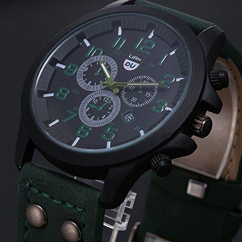 FENKOO Herren Armbanduhr Quartz Kalender/Wasserdicht Leder Band Schwarz/Braun/Grün/Grau Marke