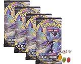 ★ Pokemon Espada & Cartel – Serie 2 Clash de los rebeldes – 4 x Booster – Alemán además 1 x mezcla de frutas y caramelos