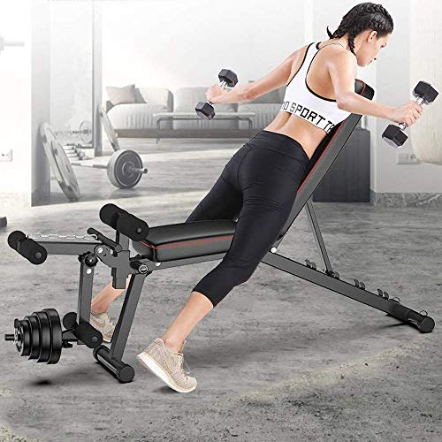 COLOM Exercise Bench Foldable,Weight Bench with Leg Extension and Leg Curl,Comfortable Padding,Multi-Adjustable Backrest Sit Up Bench for Home Gym Fitness