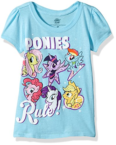My Little Pony Girls' Toddler Best Friends Forever Short Sleeve Puff Tee, Light Blue, 3T
