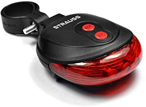 STRAUSS Unisex Adult ST-1393 Bicycle Flash Tail Light With Laser - Black, One Size