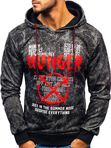 BOLF Herren Kapuzenpullover Sweatshirt mit Aufdruck Kapuze Hoodie Street Style J.Style 11060 Dunkelgrau XXL [1A1]