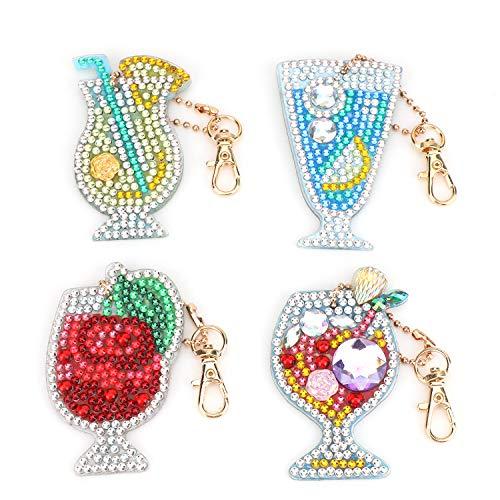 MWOOT 4 Stücke DIY Diamant Malerei Schlüsselbund mit Weinglas Muster, 5D Full Drill Diamond Painting Keychain für Frauen Mädchen Tasche Geldbörse Handtasche Charms Anhänger Geschenk