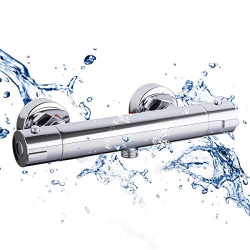 GAPPO Wannenarmatur Duschethermostat für Wandmontage mit 38℃ Sicherheitstaste Mischbatterie Dusche Keramikkartusche aus Messing, Chrom, MEHRWEG …