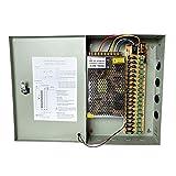Henxlco 18 Channel 20A 12V DC Security Camera Power Supply Box Distribution for CCTV DVR Surveillance System