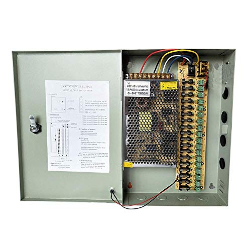 Henxlco 18 Channel 20A 12V DC Security Camera Power Supply Box Distribution for CCTV DVR Surveillance System