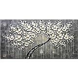 Pinturas al óleo de Lona Moderna decoración de Boda Cuchillo Flor de la Pared Arte de la Pared Decoración del hogar para la Sala de Estar en los Listas (Color : White, Size : 80x200cm No Frame)