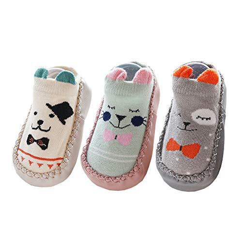 3足セット ベビー 靴下 可愛いベビーシューズ 室内履き ルームシューズ 子供用 ソックス 赤ちゃん 子供 幼児 滑り止め 柔らか 通気性 出産祝い (白い子犬/ピンクの子猫/灰色のくまちゃん, 12cm)