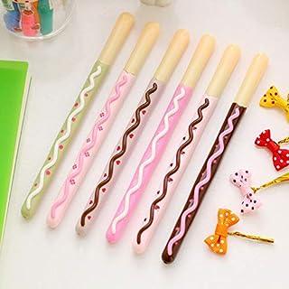 DORLIONA 5Pcs/lot Pocky Stick Gel Ink Ball Pen Signature Ballpoint Kids Lovely Gift
