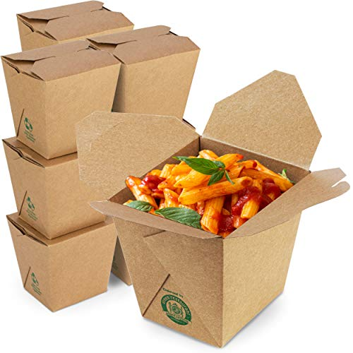 """[50 Pack] 32 oz Chinese Take Out Boxes - 4.5x4"""" Plain Kraft Paperboard Food Containers, Leak and Grease Resistant Quart Size Asian Rectangle to Go Boxes, Candy Buffet Box and Party Favors"""