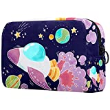 Neceser Maquillaje Portátil Lindo Avión Galaxy Bolsa De Maquillaje Bolsa De Aseo Neceser De Viaje Toiletry Bag para Mujeres Niñas 18.5x7.5x13cm