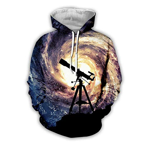 yyqx container Sweat-Shirt à Capuche 3D Télescope Hoodies d'impression 3D Unisexe Manches Longues Sweat-Shirts Respirants Cordon de Serrage réglable avec Poche Kangourou-Couleur de Poche , XXL