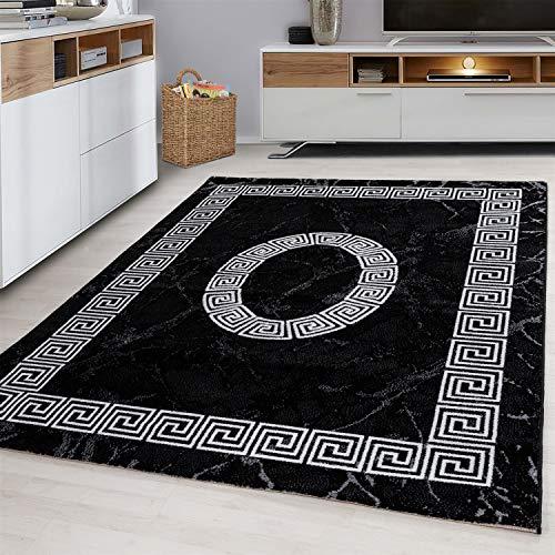 Ayyildiz Teppich-Designer Teppich Modern Marmor Optik Mäander Muster,  Polypropylen, Schwarz, 200 X 290