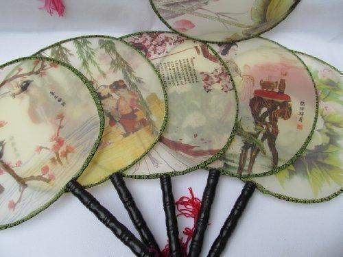 Quality Bois & Soie Traditionnel Vintage Chinois Petit Rond Mariage Chinois Japonais Geisha déguisement Déguisement Femmes éventail Posté de Londres par Fat-CATZ