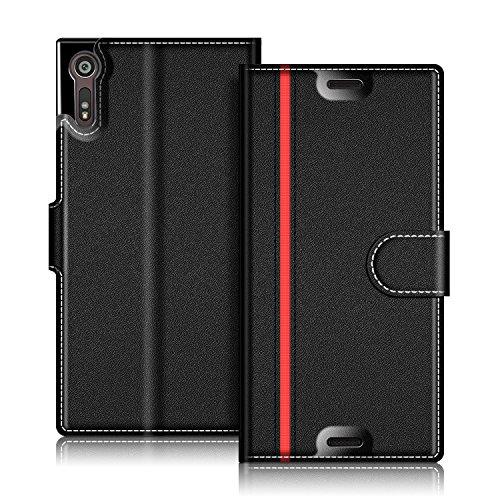 COODIO Handyhülle für Sony Xperia XZ Handy Hülle, Sony Xperia XZ Hülle Leder Handytasche für Sony Xperia XZ/Xs Klapphülle Tasche, Schwarz/Rot