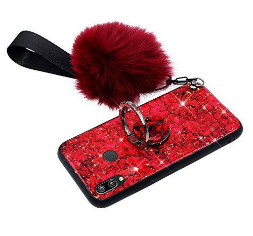 Hpory Kompatibel mit Huawei P20 Lite Hülle, Handyhülle Huawei P20 Lite Glitzer Muster TPU Silikon + PC Hart Case Cover Tasche Etui Schutzhülle für Mädchen Damen mit Ring Ständer Plüsch Ball - Rot
