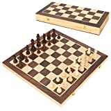 Wooden magnetic travel chess set:travel set board set is made of solid wood and upgraded magnet. Unique magnetic design of each chessmen, different from the weak magnetism of others, ensure no lost pieces while playing in windy weather, outdoors or t...