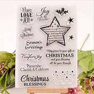 Welcome to Joyful Home 1pc Christmas Gift Peace Love Joy Rubber Clear Stamp for Card Making Decoration and Scrapbooking