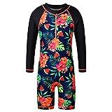 ZNYUNE - Costume da bagno intero da bambina, con protezione solare, protezione UV 50+ Blackflower 6-8 anni