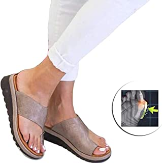 Open Toe Big Toe Orthopedic Bunion Corrector, Comfy Flat Flip-Flops Beach Shoes Summer Ladies Platform Sandal Shoes,C,41