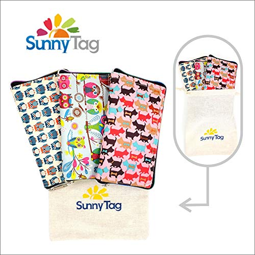 Sunny Tag Foldable Reusable Eco friendly Wallet Style Grocery Shopping Travel Bag Tote Pack of 3. Water repellent, Washable, Hold up to 33 LBS or 15 KG