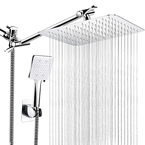 "Qinmor Shower Head , 8'' High Pressure Rainfall Shower Head / 6 Spray Settings Handheld Showerhead Combo with 11"" Extension Arm, Anti-leak Shower Head with Holder, 1.5M Hose, Chrome"
