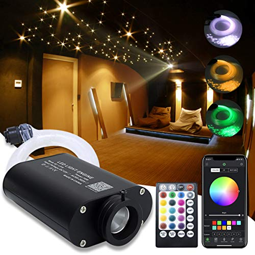 16W Fiber Optic Star Kit Ceiling Light,APP Controlled 28 Keys Sound Sensor Musical RGBW Remote 0.75mm/0.03in 6.5ft/2m 150pcs