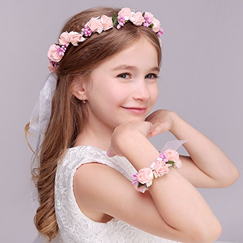 Kercisbeauty - Diadema de boda rústica para niña, diseño de flores, color rosa y blanco