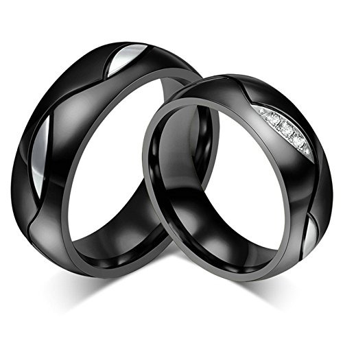 Daesar Anello Anello in Acciaio Inox Nero Anello di Nozze Matrimonio 6MM per Lei e per Lui Anello Donna 30 & Uomo 20