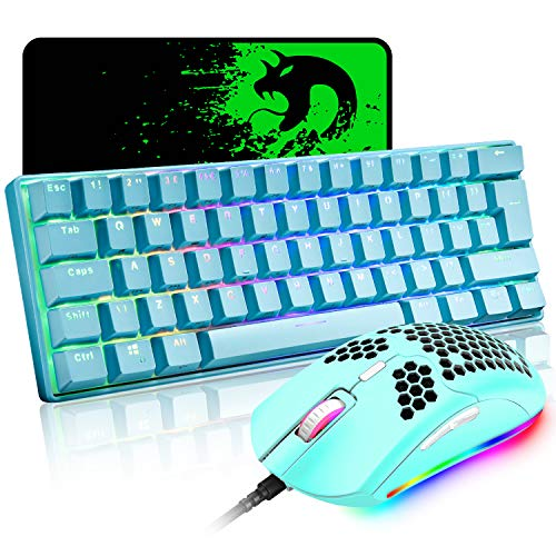 Mechanical Gaming Keyboard and Lightweight Honeycomb Mouse Combo with Rainbow RGB Backlit Full Anti-ghosting 61 Key Ergonomic Programmable Mice Wired USB for Laptop PC Gamer Typist(Blue/Blue Switch)