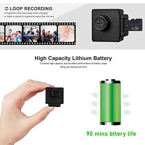 KOBERT GOODS 918R Full HD Mini-DVR-Knopfkamera Slim-Cam für Videoaufnahmen in Full HD - mit Anti-Shaking- & Webcam-Funktion sowie Loop-Aufnahmen Bedienbar über eine 2,4G Wireless-Fernbedienung