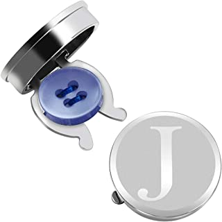 Silver Button Cover Cufflinks for Men Initials Letter A-Z...