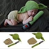 TXYFYP Bebé Fotografía Accesorios Disfraz Set, Hecho a Mano Lindo de Ganchillo Yoda Sombrero Fotografía Accesorio Recién Nacido para 0-3 Meses Bebé - 0-3 Meses, Free Size