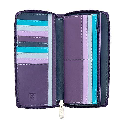 DUDU Portafoglio Donna Grande con Cerniera in Pelle Nappa Zip Around 15 Tasche Porta Carte di credito e Portamonete Mauve