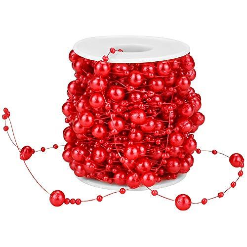 GOLRISEN 65,6 Füße Perlengirlande Weihnachtsbaum Perlenkette Christbaumkette Rot Perlenschnur Deko Weihnachtsbaumkette Kunststoff Perlenband Weihnachten mit 2 Größen Perlen für Hochzeit Party Strauß