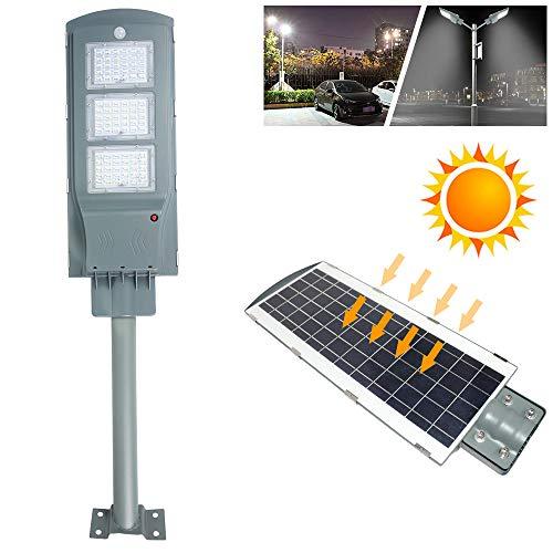 Froadp 60W Solar Straßenleuchte mit Radar-Bewegungserfassung + Lichtsteuerung Sensor IP65 Wasserdichte Akku Bestrahlungsfläche 110㎡ für Outdoor Garten Wege Park Einfahrten(mit Lichtmast)