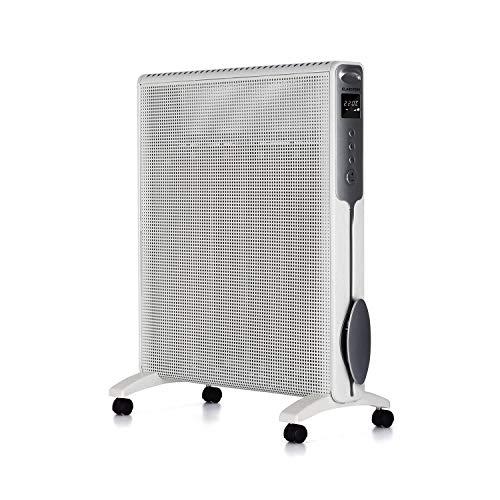 Klarstein Hot Spot Rolling Wave - Standheizer, 5-36°C Temperatur, 4 Mica Heizelemente, AntiDryAir Heat, automatische Abschaltung, leise, Bodenrollen, 2 Stufen: 1500 oder 2500 Watt, weiß