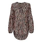 Blusa De Mujer Camisas con Cuello En V Sexy Pajarita OtoñO Linterna Casual Manga Larga con Cordones Zebra Patter Lady Work Tops AsiméTricos