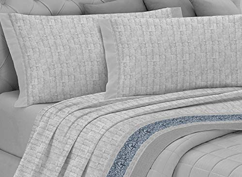 GEMITEX Completo Letto Flanella in 100% Cotone, Matrimoniale, Linea Enjoy, Disegno G17 Variante 13 Grigio, con Trattamento ANTIPILLING. Made in Italy