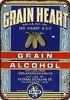 S-RONG雑貨屋 Grain Heart 190 Proof Grain Alcohol ブリキブリキ 看板レトロ デザイン 20x30cm
