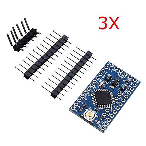 ILS - 3 pezzi 3.3V 8MHz ATmega328P-AU Pro Scheda Mini Microcontrollore per Arduino