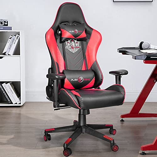 Ninecer Ergonomic Big and Tall Gaming Chair 400lbs, Office Chair Computer Chair with Headrest Lumbar Support, Reclining Racing Chair, Video Gaming Chair with Adjustable Armrest(Red)